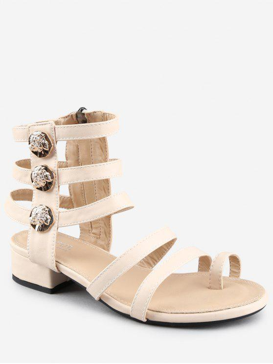 fashion Leisure Low Chunky Heel Gladiator Metallic Thong Sandals - WARM WHITE 40