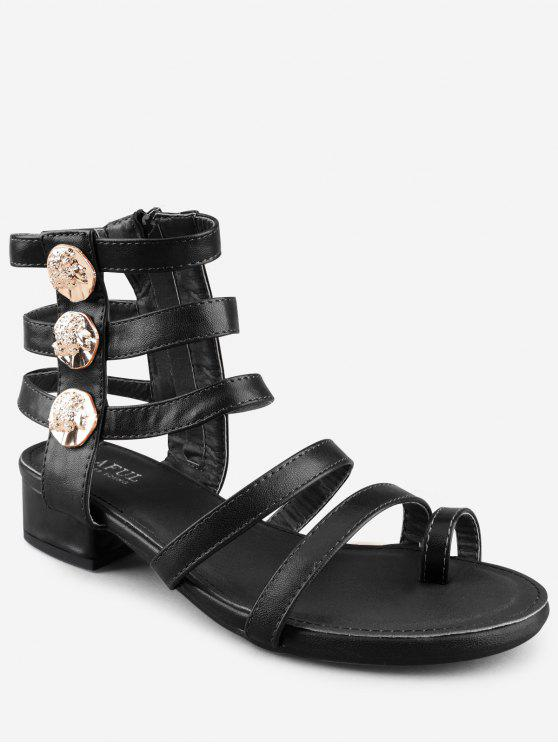Leisure Low Chunky Heel Gladiator Metallic Zehensandalen - Schwarz 36