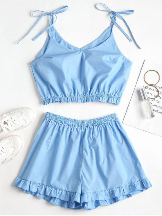 outfit Knotted Ruffles Top and Shorts Set - CRYSTAL BLUE M