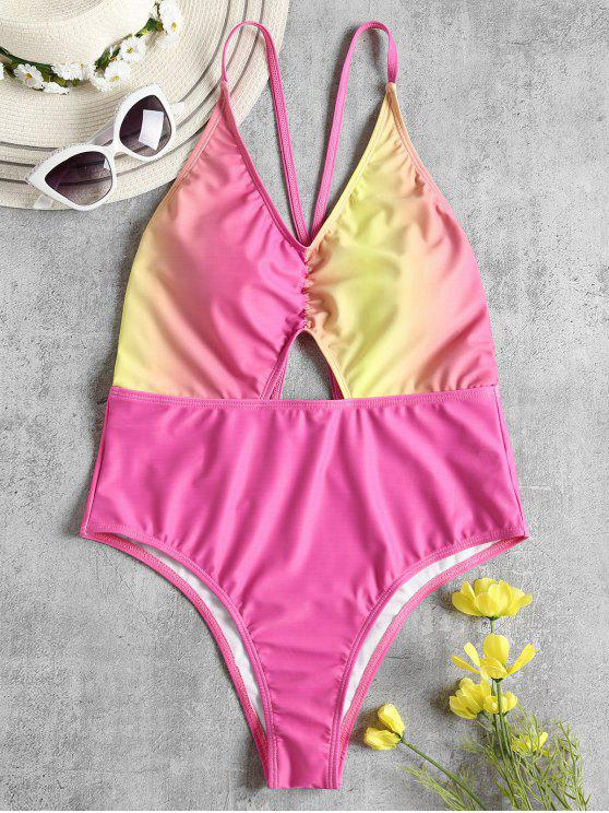 sale Ombre Criss Cross High Cut Swimsuit - HOT PINK L