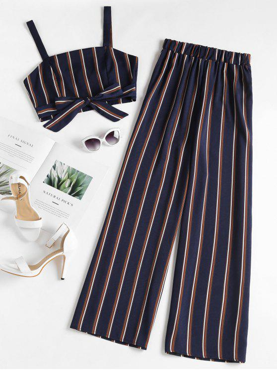 outfit Striped Zip Top and Wide Leg Pants - DEEP BLUE M