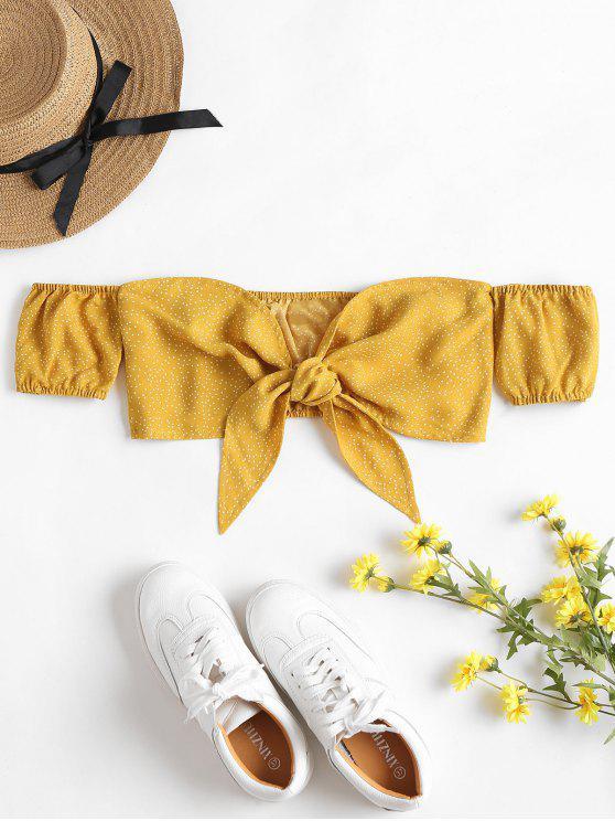 Fora do ombro Tie Front Top - Amarelo Brilhante M