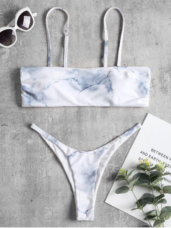 Biquíni de cordão de amarração em mármore - Branco Quente L