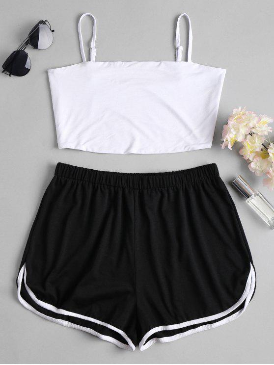 trendy Sports Plain Top and Shorts Set - BLACK S