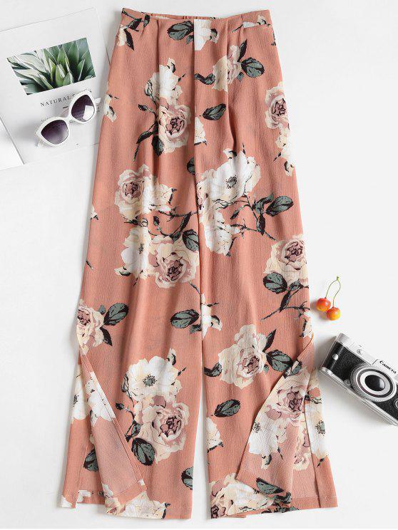 Pantalon Floral avec Jambes Larges Fendues - ROSE PÂLE L