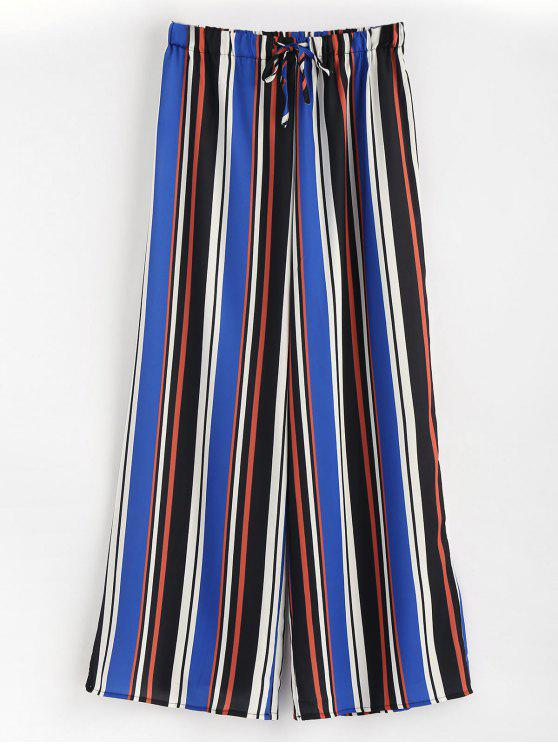 lady High Waisted Striped Wide Leg Pants - MULTI S