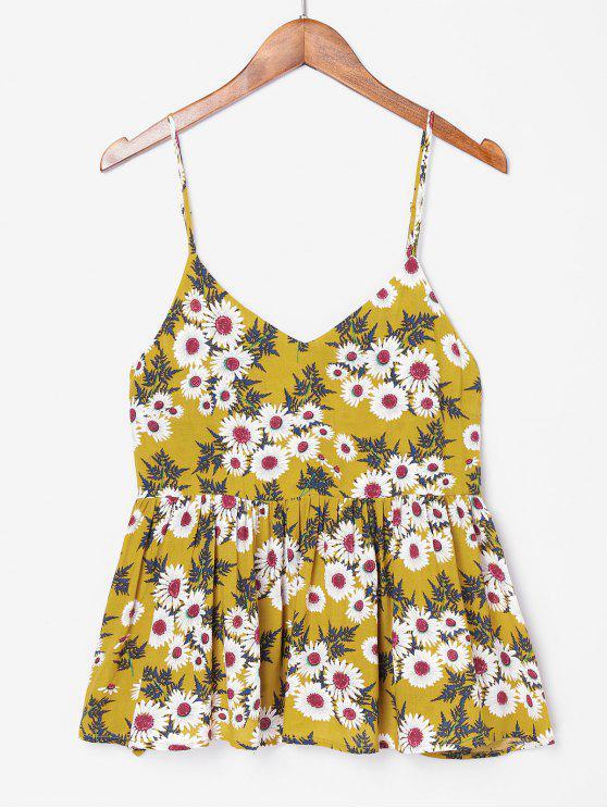 Camisa de volantes con estampado floral - Marrón Dorado XL