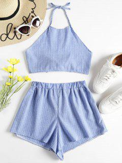 Halter Striped Top And Shorts Twinset - Light Blue M