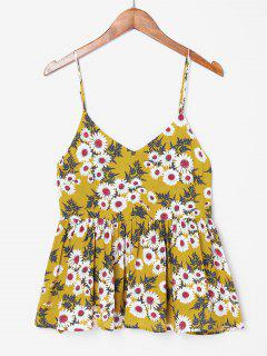 Floral Print Ruffles Cami Top - Golden Brown S
