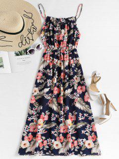 Elastic Waist Floral Maxi Dress - Deep Blue