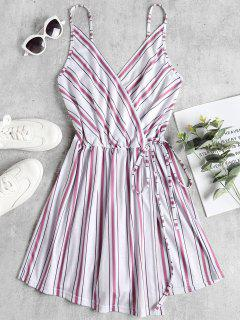 Overlap Striped Cami Romper - White M