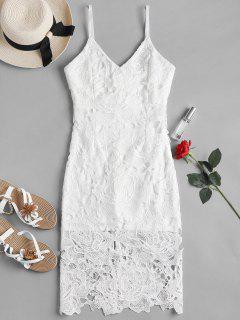 Crochet Lace Midi Cami Bodycon Party Dress - White S