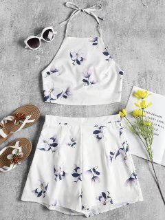 Top Halter Floral Y Pantalones Cortos - Blanco S