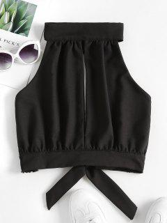 Crochet Panel Cutout Crop Top - Black M