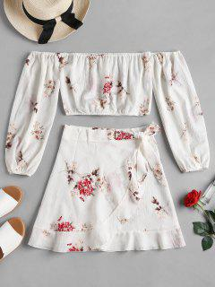 Blouson Sleeve Crop Top Skirt Matching Set - White L