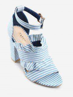 Ankle Strap Ruffles Striped Block Heel Sandals - Sea Blue 37