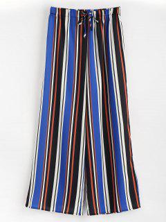 High Waisted Striped Wide Leg Pants - Multi L