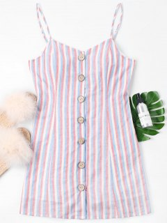 Striped Buttoned Cami Dress - Light Pink L