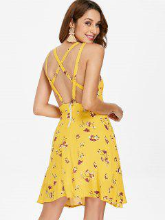 Floral Caged Back Slip Swing Dress - Bright Yellow L