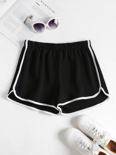 Contrast Trim Dolphin Shorts - Black L