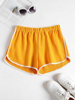 Contrast Trim Dolphin Shorts - Mustard M