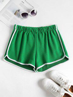 Contrast Trim Dolphin Shorts - Shamrock Green M