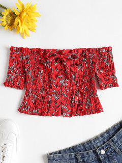 Floral Lace-up Smocked Crop Top - Lava Red