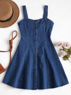 Denim Pinafore Mini Skater Dress - Denim Dark Blue L