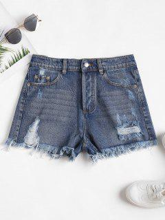 High Waisted Ripped Denim Cutoff Shorts - Blue L