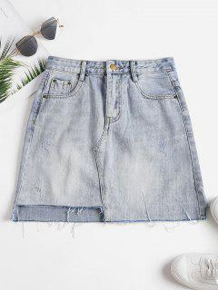 Falda De Mezclilla De Talle Alto - Azul De Jeans  L