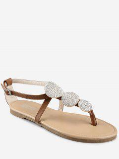 Crisscross Crystal T Strap Chic Thong Sandals - Light Brown 37