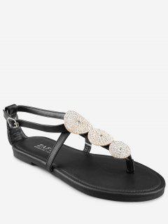 Crisscross Crystal T Strap Chic Thong Sandals - Black 36
