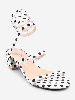 Chunky Heel Retro Polka Dot Tie Leg Sandals - White 39