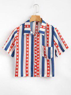 Knoten Unten Amerikanische Flagge Shirt - Multi L