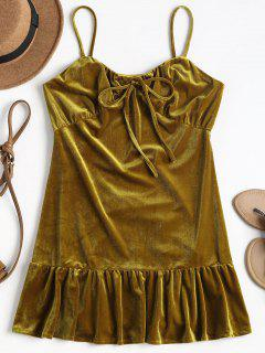 Mini Robe En Velours Brillant - Caramel S