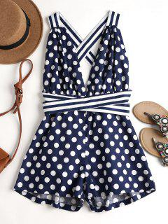 Criss Cross Polka Dot Romper - Cadetblue S