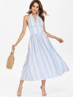 Striped Halter Dress - Sky Blue M