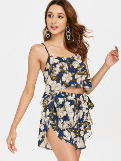 Floral Bowknot Cami Shorts Set - Deep Blue L