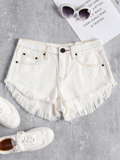 Pantalones Cortos De Mezclilla Dobladillo Mini Deshilachados - Blanco L