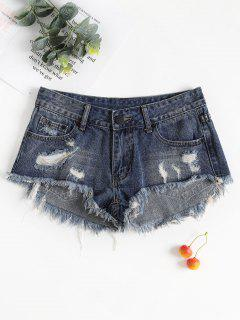 Frayed Hem Ripped Denim Shorts - Dark Slate Blue M