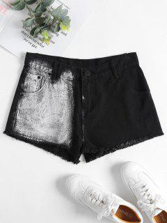 Denim Frayed Hem Mini Shorts - Black S