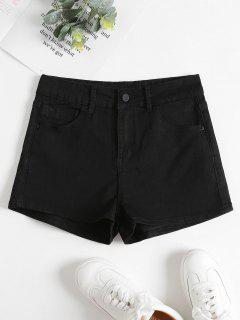 Denim High Waisted Shorts - Black L