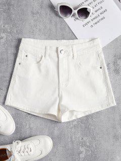 Pantalones Cortos De Cintura Alta De Mezclilla - Blanco L
