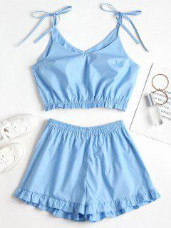 Knotted Ruffles Top And Shorts Set - Crystal Blue M