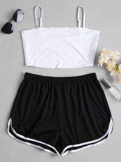 Sports Plain Top And Shorts Set - Black M