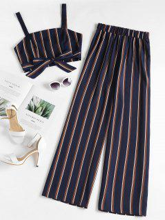 Striped Zip Top And Wide Leg Pants - Deep Blue M