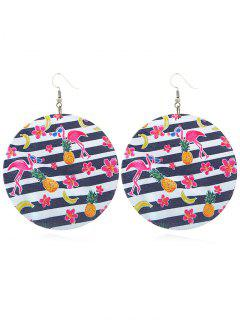 Cute Pink Flamingo Round Hook Earrings - Multi