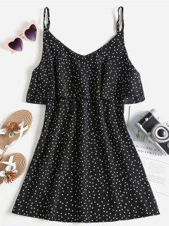 Polka Dot Flounce Slip Dress - Black M