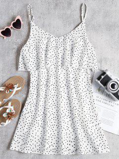Polka Dot Flounce Slip Dress - White S