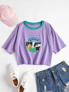 T-shirt à Motif Graphique De Lait De Vache  - Mauve